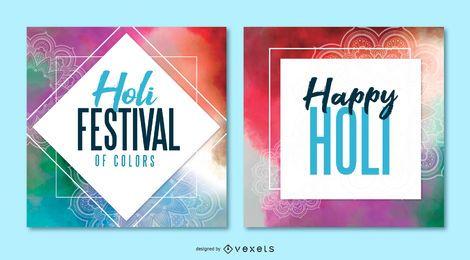 Paquete de pancartas de Holi Festival Square