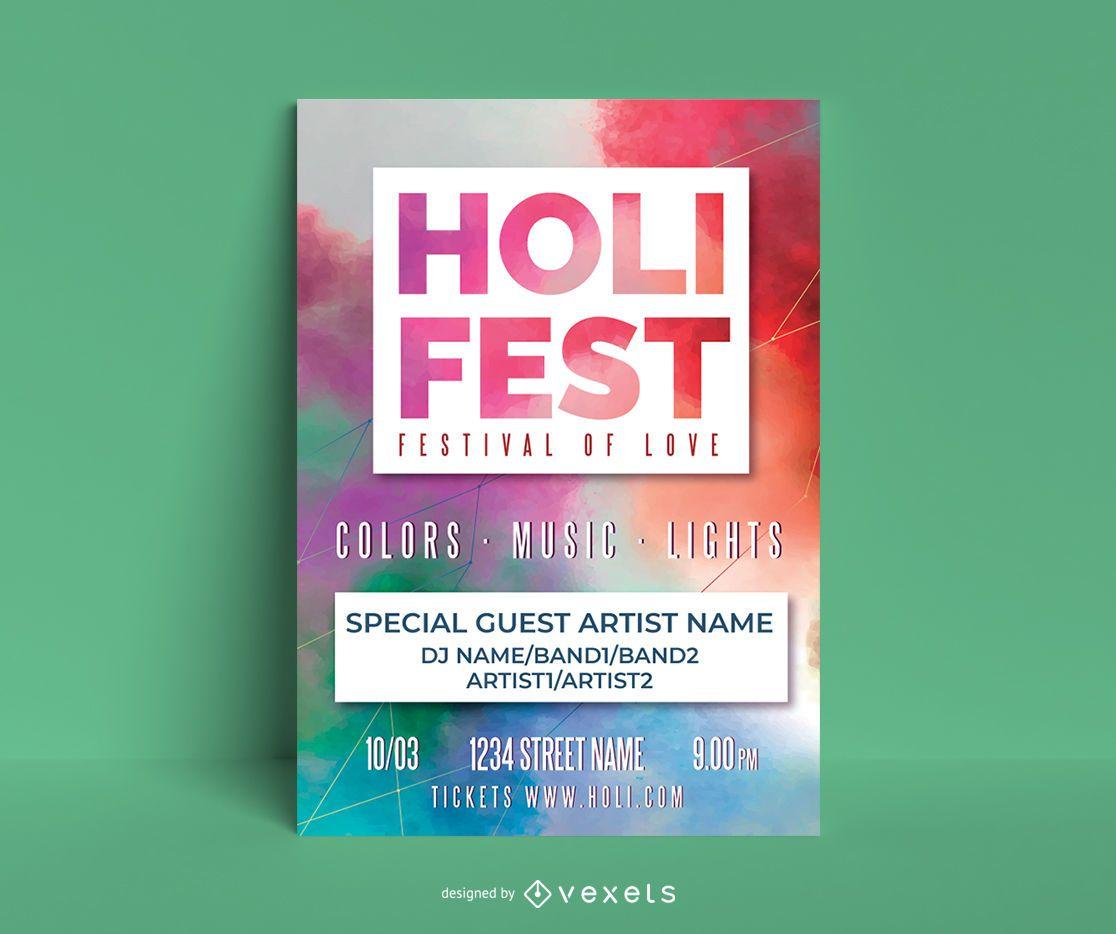 Plantilla de póster editable de Holi Fest
