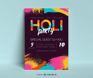 Design de cartaz de festa Holi