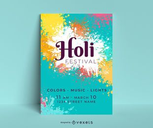 Design editável do cartaz do festival de Holi