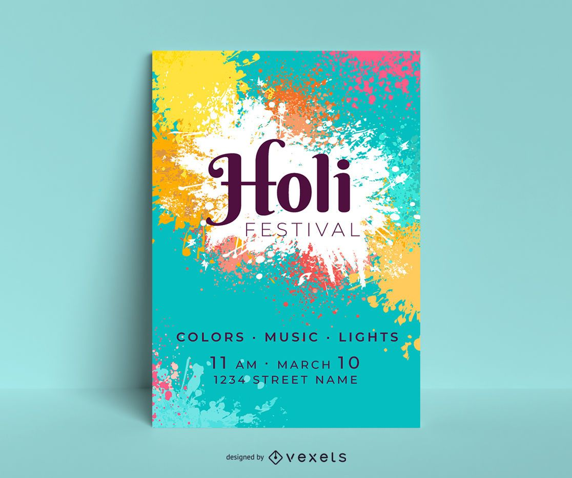 Diseño de carteles editables del festival Holi