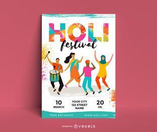 Diseño de carteles de personajes del festival Holi