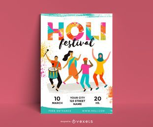 Holi Festival personagem Design de cartaz