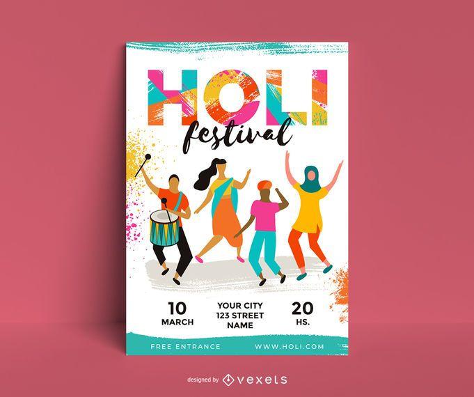 Holi Festival Charakter Poster Design