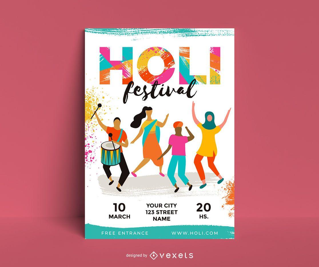 Holi Festival Character Poster Design