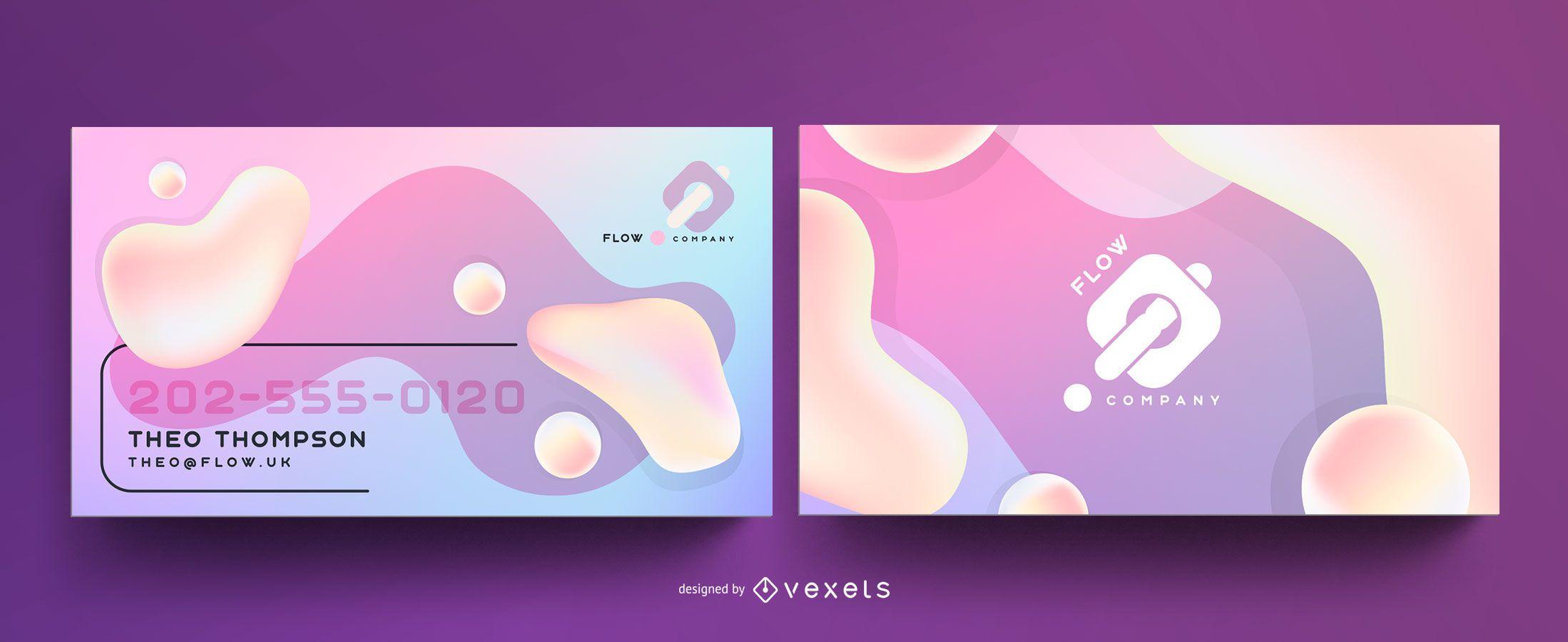 Plantilla de tarjeta de visita abstracta en colores pastel