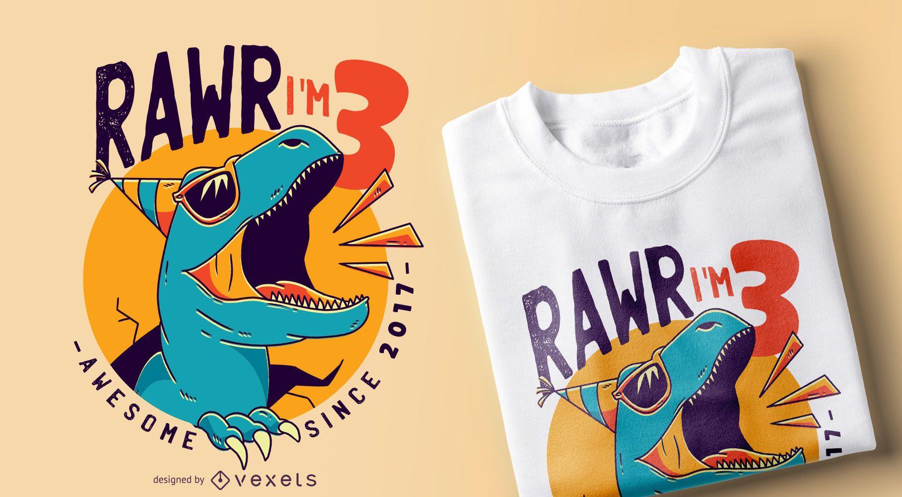 Diseño de camiseta de cumpleaños de dinosaurio