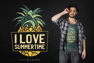 Diseño de camiseta de verano de piña