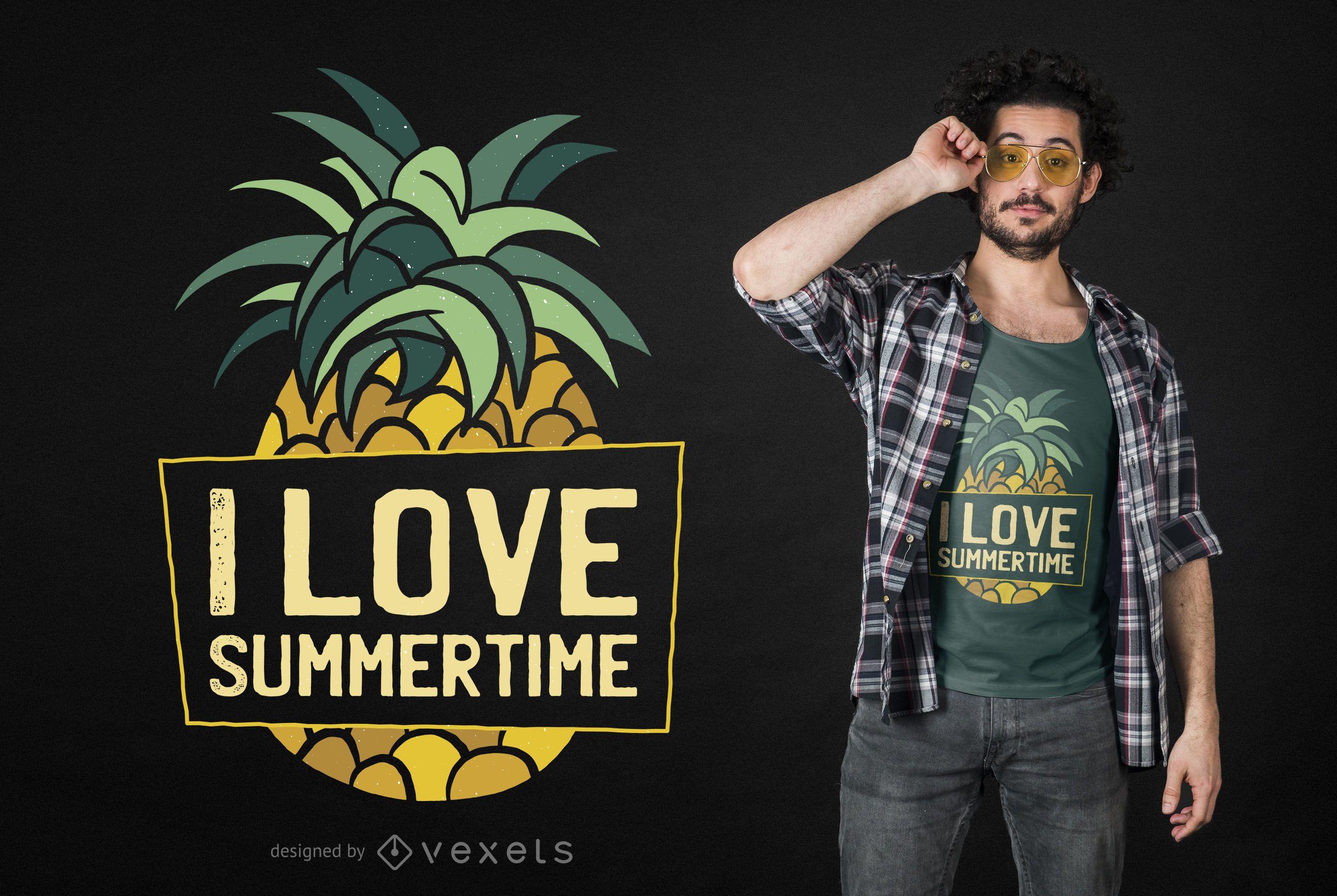 Pineapple Summertime T-shirt Design