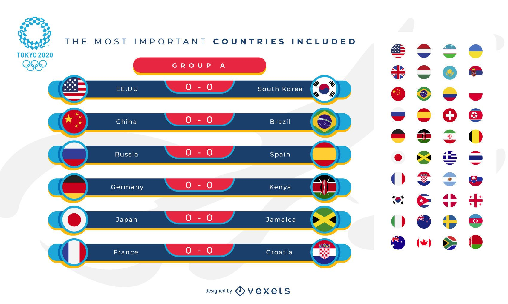 Olympic Games Sports Group Stage Template Graphic