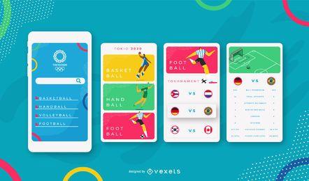 Plantilla de diseño de interfaz de usuario móvil de deportes olímpicos