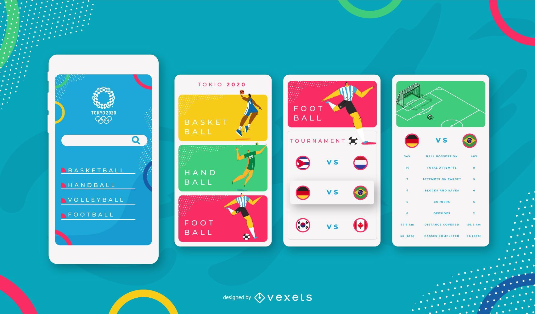 Olympic Sports Mobile UI Design Template
