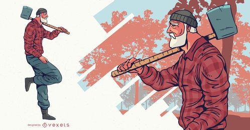 Holzfäller mit Axt Charakter Design