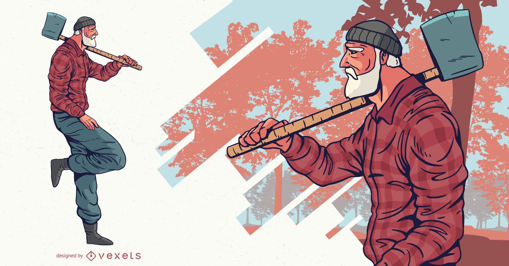 Leñador con diseño de personajes de hacha.