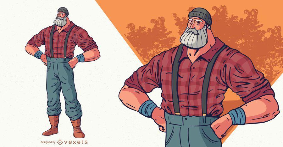 Ilustración de personaje de leñador