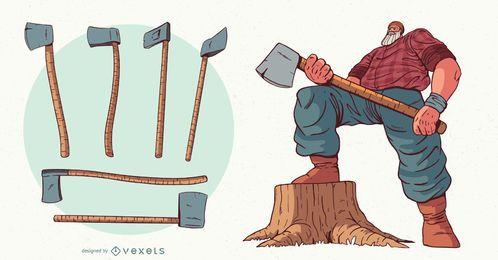 Ilustración de personaje de ejes de leñador