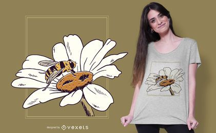 Diseño de camiseta de flor de abeja