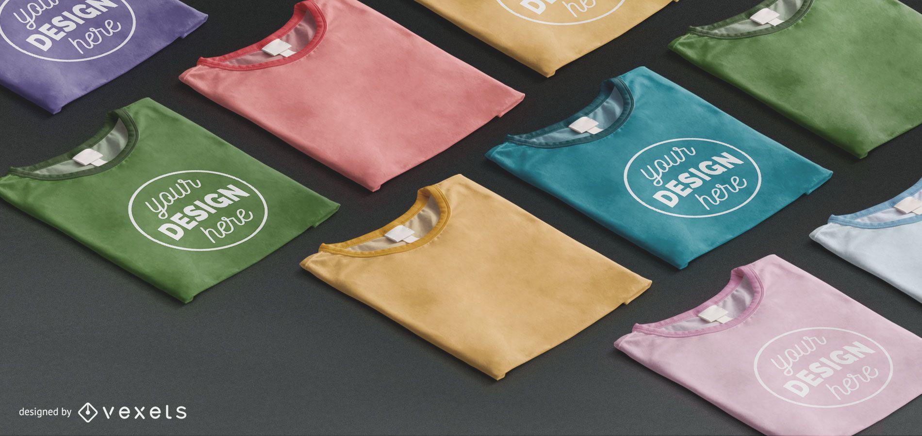 Conjunto de maquete de camiseta dobrada isométrica
