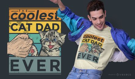 Coolest cat dad t-shirt design