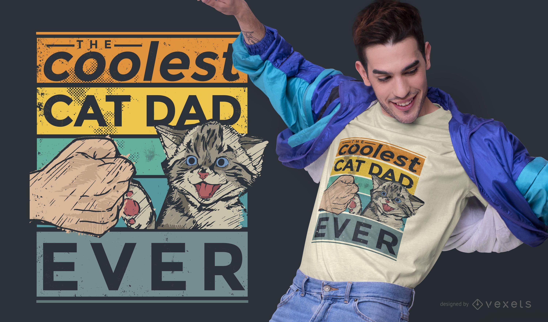 Coolest cat dad t-shirt design