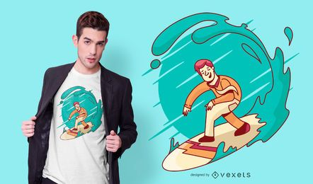 Design de t-shirt de surf de homem de negócios