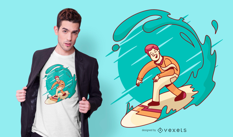 Business man surfing t-shirt design