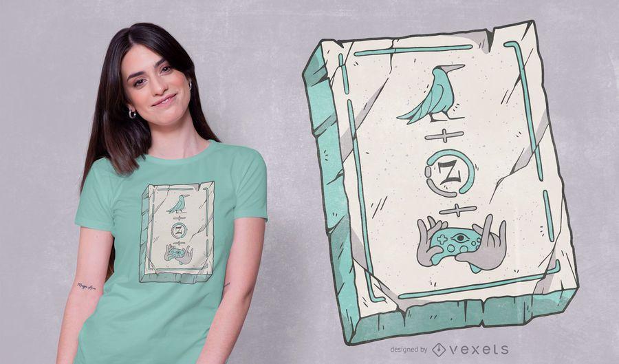 Diseño de camiseta de símbolos de piedra egipcia