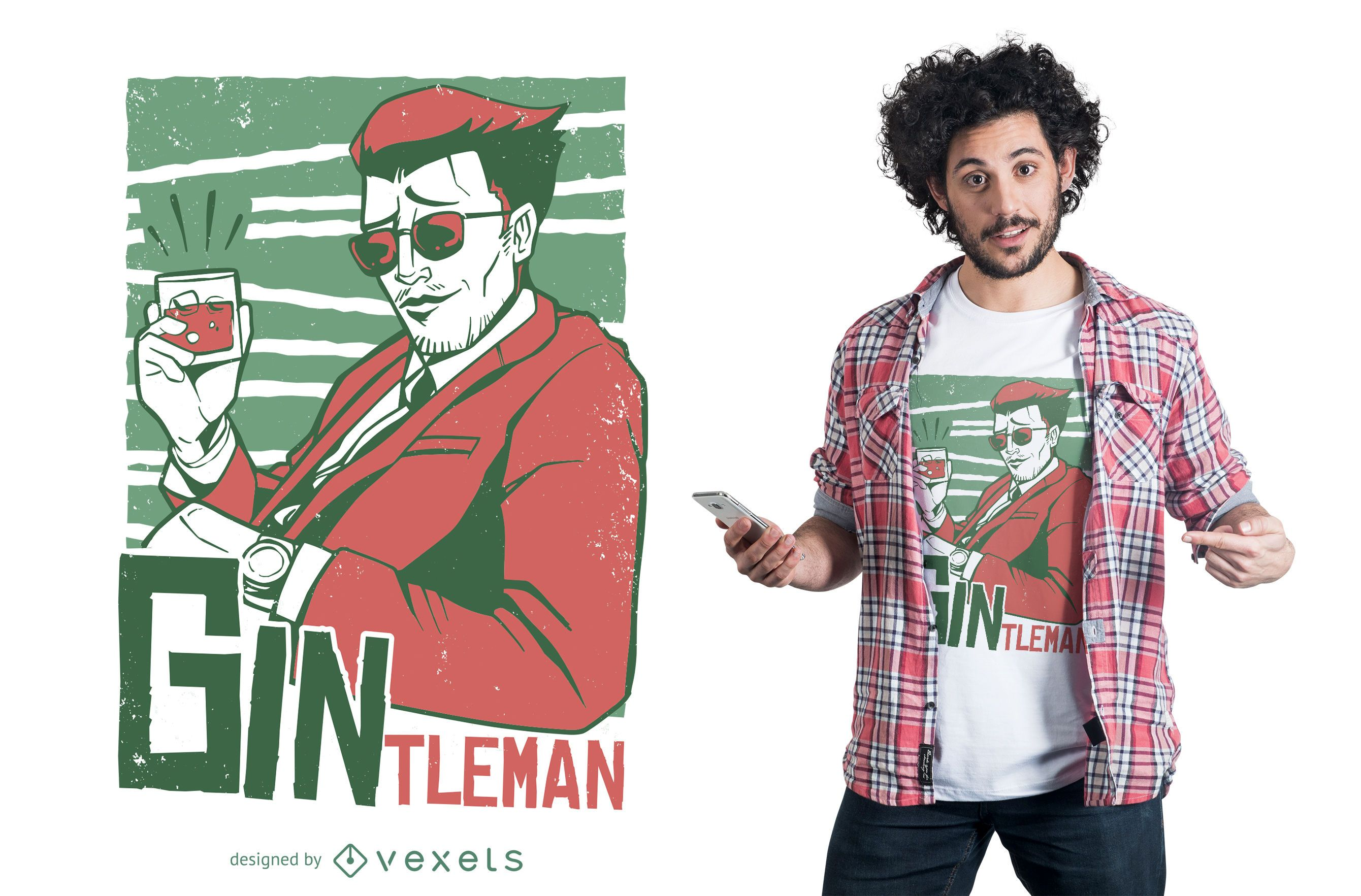 Design de t-shirt masculina Gin
