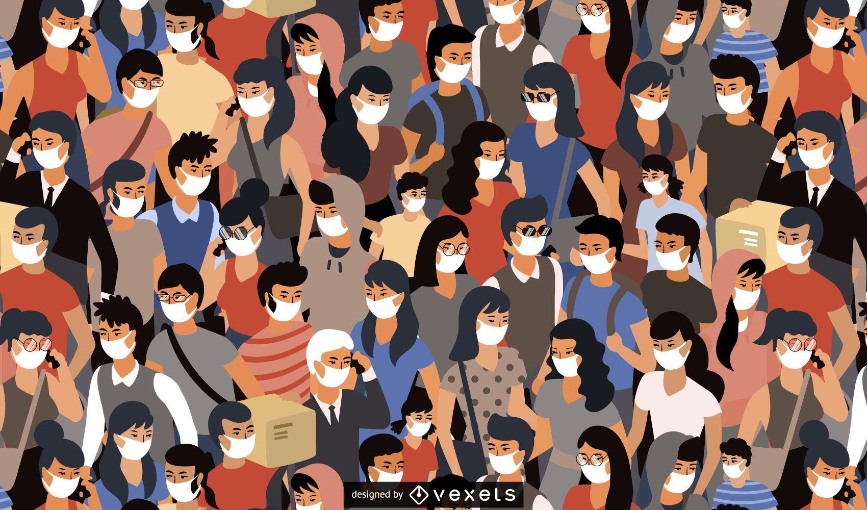 Personas con diseño de patrón de máscaras médicas.