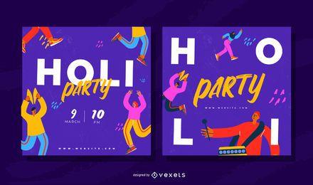 Conjunto de Banner de festa quadrada do Festival Holi