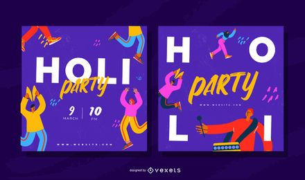 Holi Festival Square Party Banner Set
