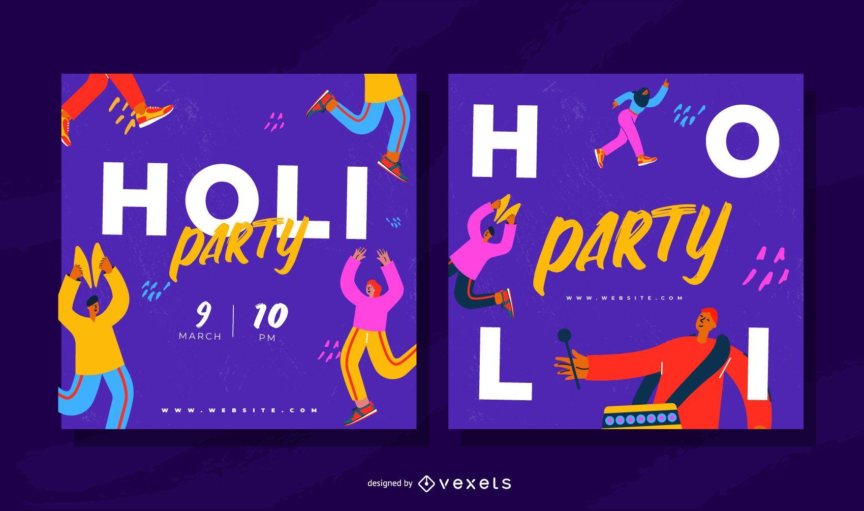 Conjunto de banners de fiesta de Holi Festival Square