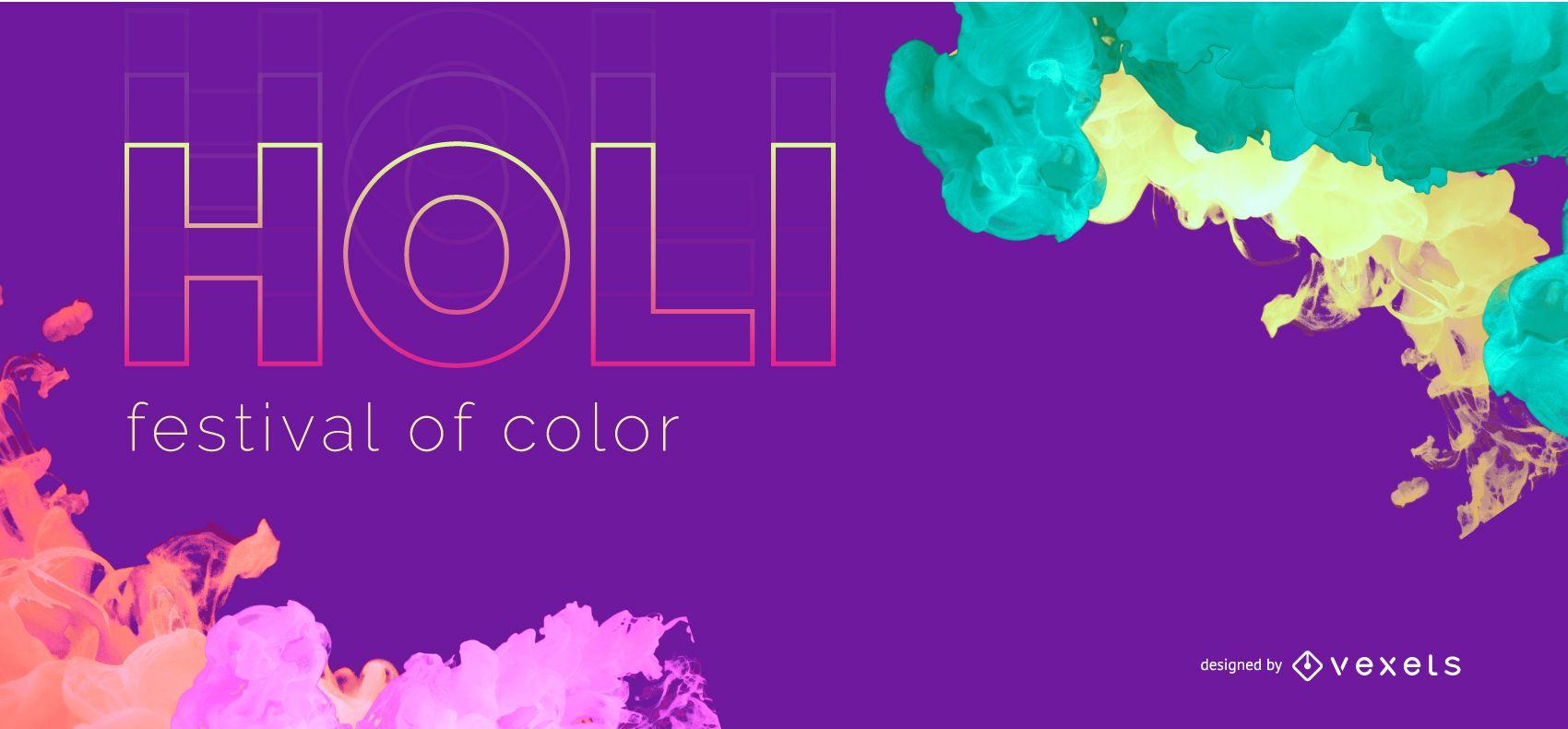 Holi Festival Colorful Web Banner Design