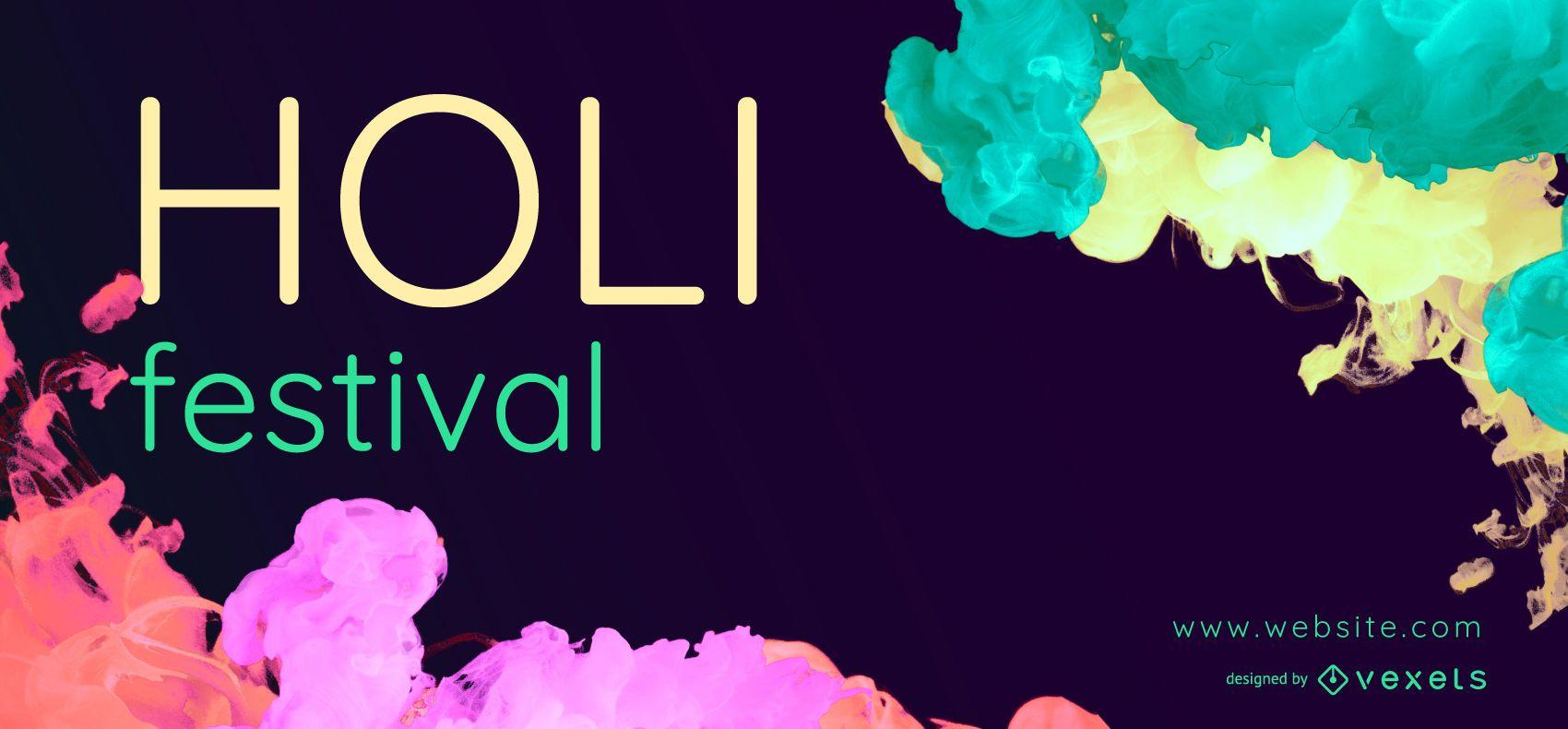 Design do banner da web do Holi Festival