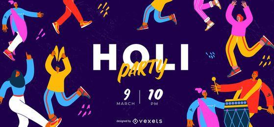 Diseño del control deslizante de Holi Festival Party Web