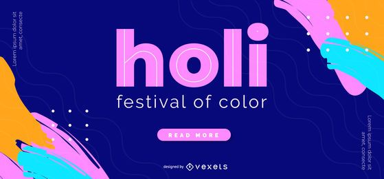 Holi Color Festival Web Slider Design