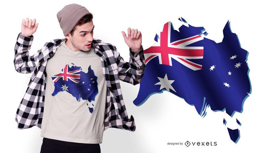 Diseño de camiseta de la bandera de Australia
