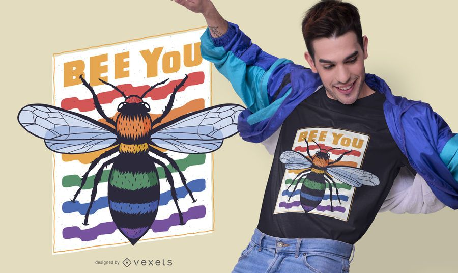 Design de camisetas com citações da abelha do orgulho