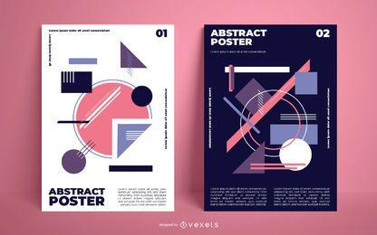 Pacote de pôster de formas geométricas abstratas