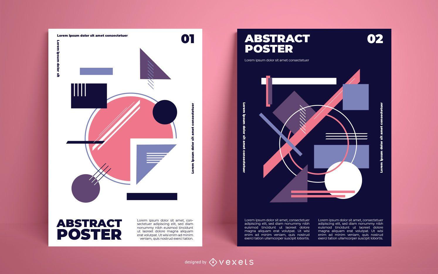 Pacote de pôsteres de formas geométricas abstratas