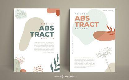 Abstraktes organisches illustriertes Plakatset