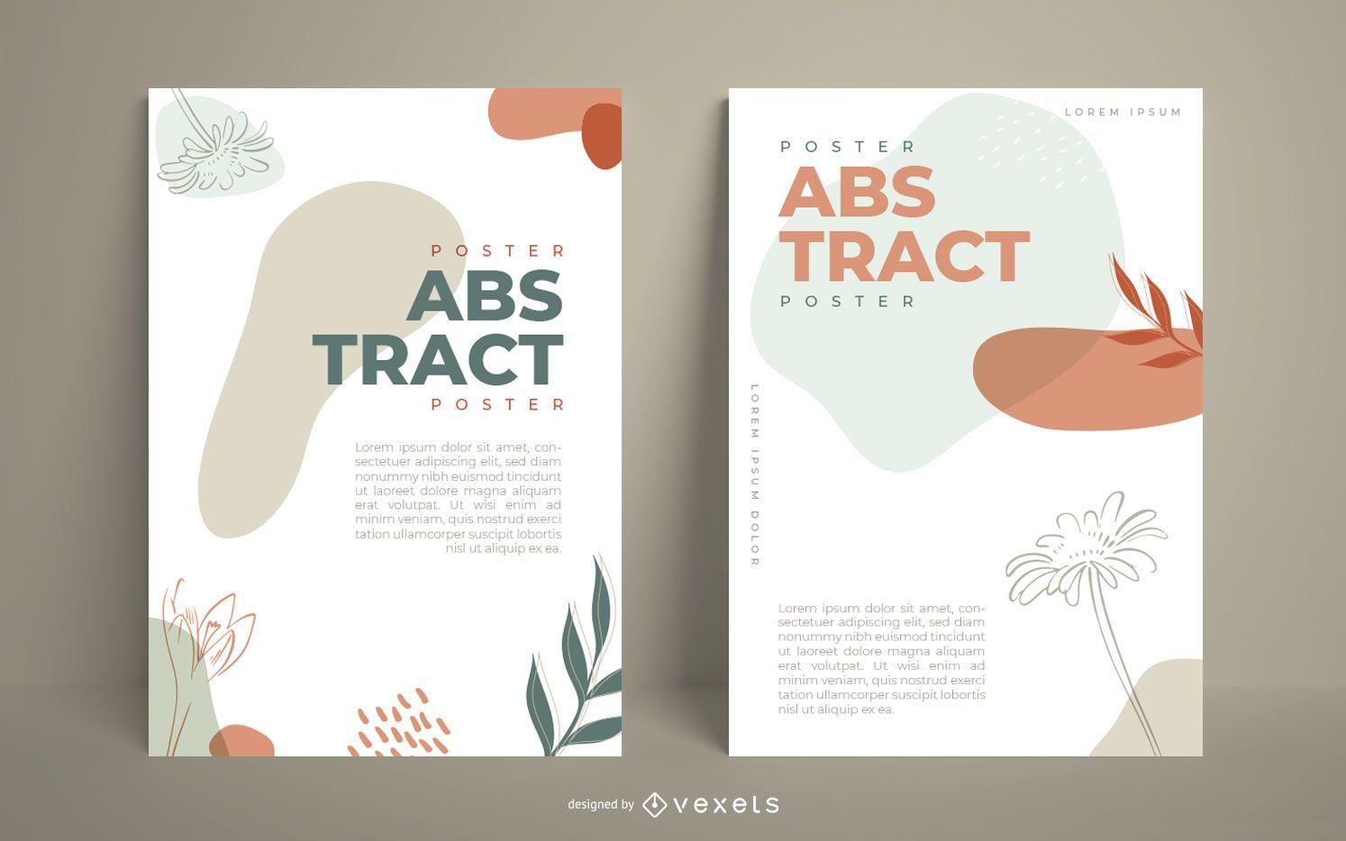 Conjunto de pôsteres ilustrados orgânicos abstratos
