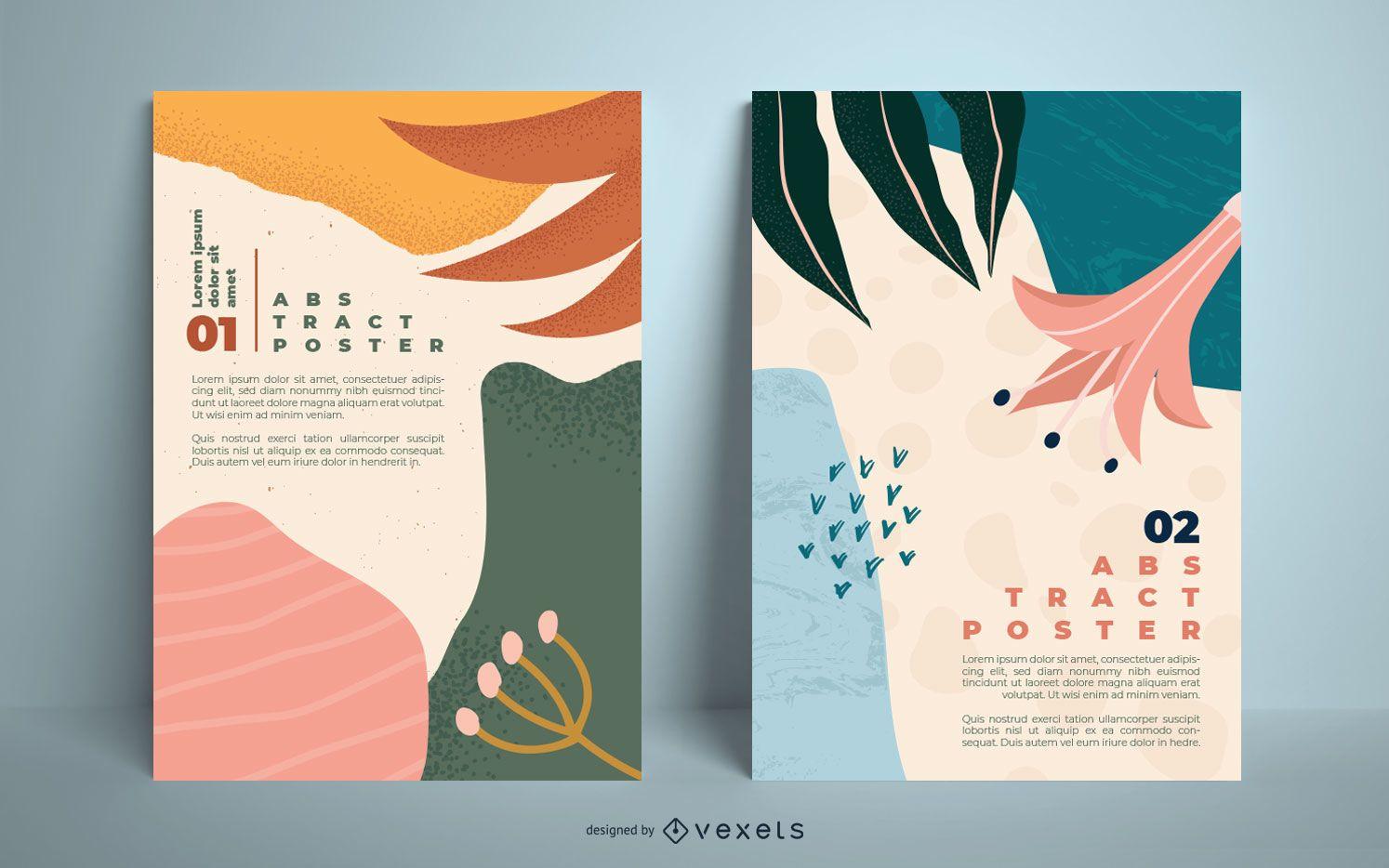 Conjunto de plantillas de carteles orgánicos abstractos