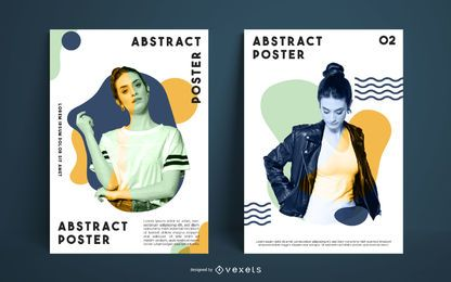 Abstract model poster template set