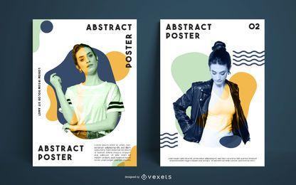 Conjunto de modelo de cartaz modelo abstrato