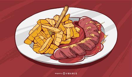 Ilustración de comida de papas fritas y salchichas
