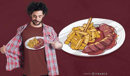 Diseño de camiseta de papas fritas y salchicha