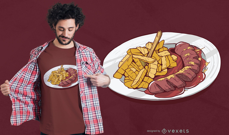 Fries and Sausage T-shirt Design