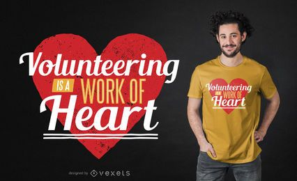 Design voluntário de camisetas com coração
