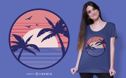 Beach sunset t-shirt design